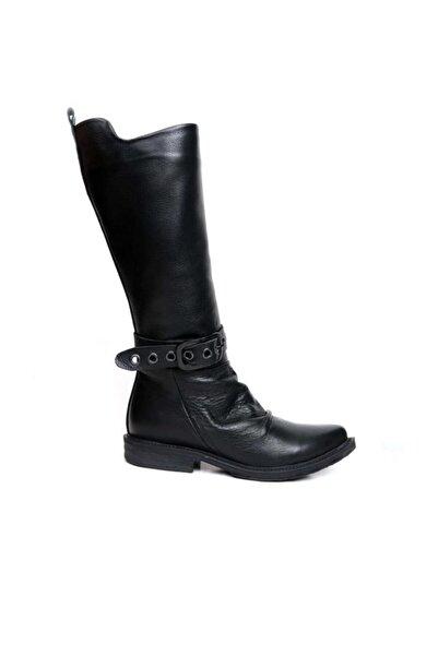 BUENO Shoes Fermuarlı Önden Kemer Detaylı Büzgülü Hakiki Deri Kadın Düz Çizme 9p6406