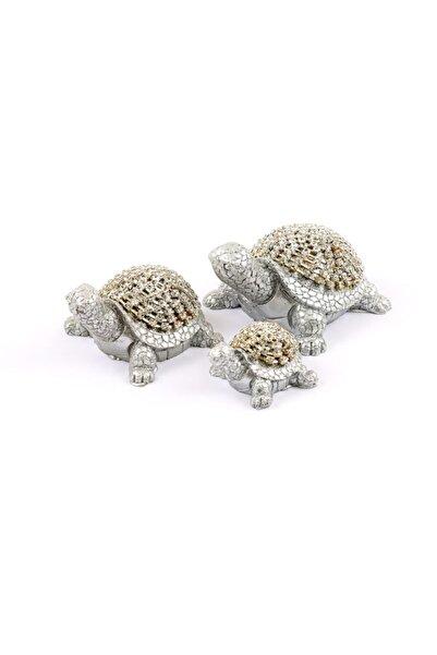 Nehir Taşlı Kaplumbağa Seti Gümüş