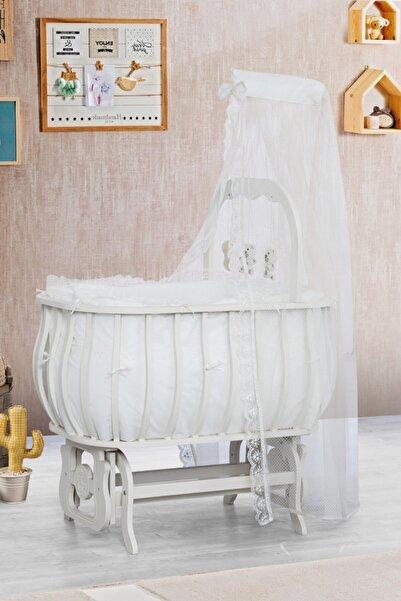 Setay Beşik, Mdf Sepet Beşik Oyuncaklı Krem + Yatak + Cibinlik, Bebek Odası