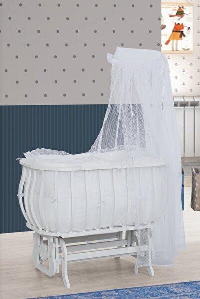 Setay Beşik, Mdf Sepet Beşik Beyaz + Yatak + Cibinlik, Bebek Odası