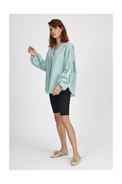 Setre Koyu Mint Yaka Pileli Uzun Kol Poplin Gömlek