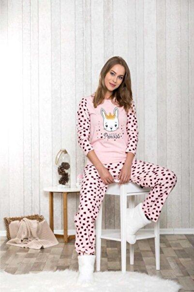 1048 Kadın Pijamapolar Kalpli Üst Pantolon 2'li Tk