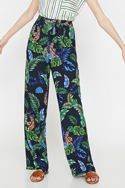Kadın Siyah Normal Bel Beli Bağlamalı Desenli Pantolon