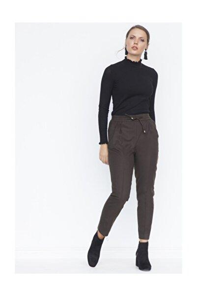 Chima Kadın Haki Pileli Bağcıklı Pantolon