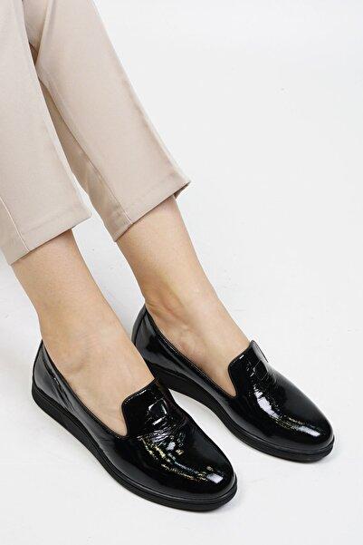 Marjin Siyah Rugan Kadın Agove Hakiki Deri Comfort Ayakkabı 19K0014TP8001