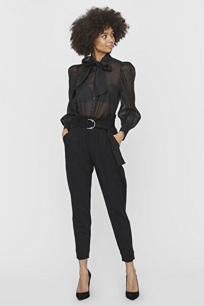Vero Moda Kadın Siyah Kemerli Bilekte Yüksek Bel Pantolon 10234262 VMBAILEY
