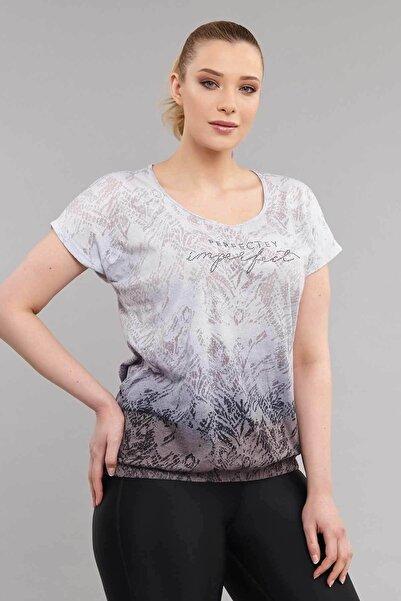 Kadın Siyah Büyük Beden Pamuk/Poly T-Shirt ES-3586