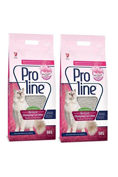 Pro Line Bebek Pudrası Kokulu İnce Tane Topaklanan Kedi Kumu 10 lt x 2 Adet