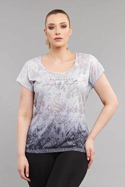 Kadın Lacivert Büyük Beden Pamuk T-shirt Es-3586