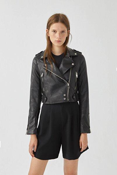 Pull & Bear Kadın Siyah Siyah Suni Deri Biker Ceket 09710306