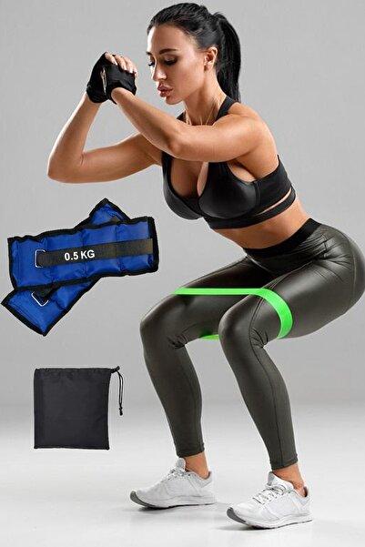 Jet Çantalı Squat Bandı Ve Kum Torbası 0.5Kg Bilek Ağırlığı Seti Pilates Plates Aerobik Direnç Lastiği