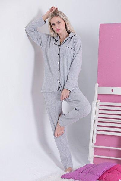 Pijama Denizi Saten Biyeli Lüks Gömlek Yaka Pijama Takımı Uzun Kollu Düğmeli Gri