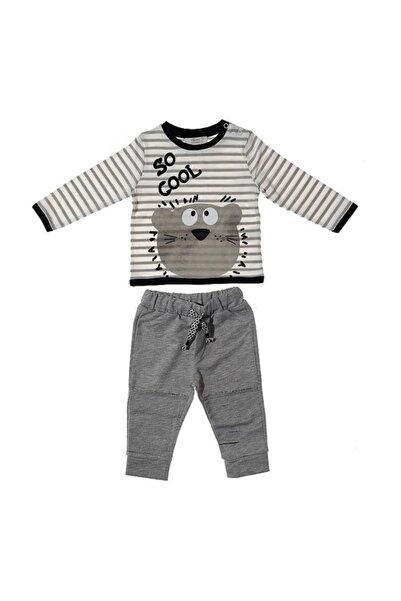 Soft One Erkek Bebek Gri Çikoby Ayıcık Desenli Alt Üst Takım