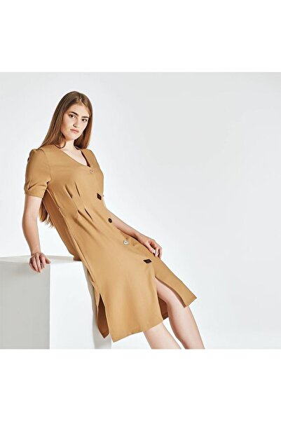 zeynep Kadın Kahverengi Keten Asimetrik Düğmeli Elbise