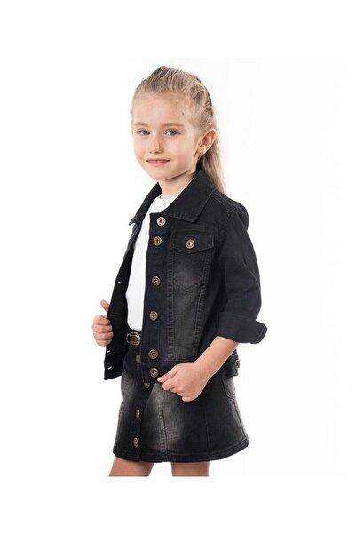 Varol Kids Kız Çocuk Siyah Kot Ceket