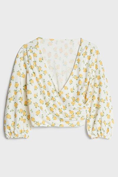 Bershka Kadın Beyaz Sarı Balon Kollu Kruvaze Bluz