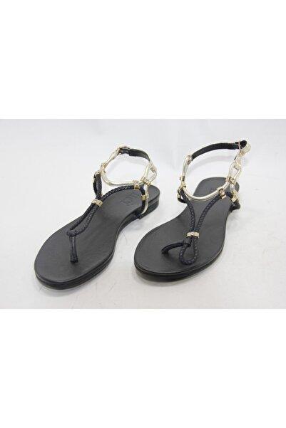İnci Kadın Siyah Hakiki Deri Düz Taban Sandalet