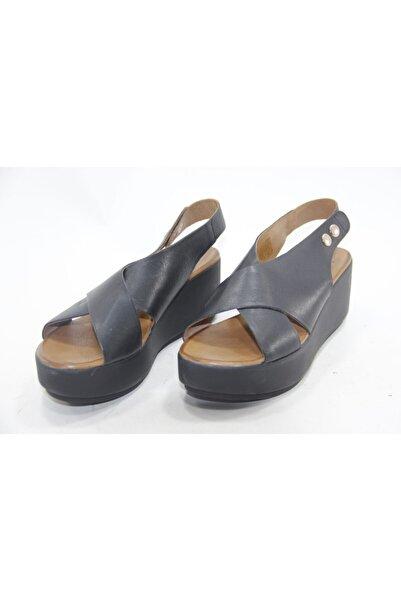 İnci Kadın Siyah Deri Sandalet Ayakkabı