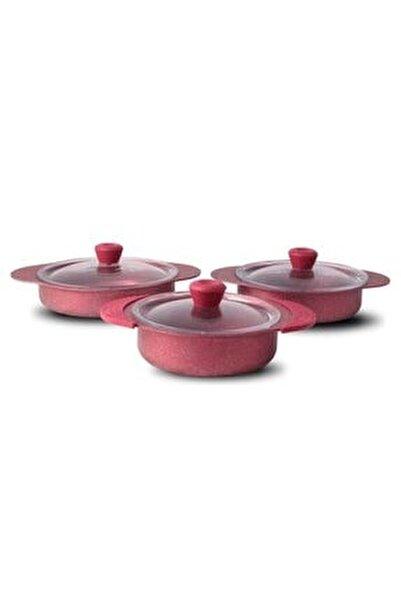 Kırmızı 3 Parça Granit Sahan Set