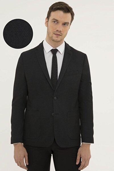 Pierre Cardin Erkek Siyah Slim Fit Ceket