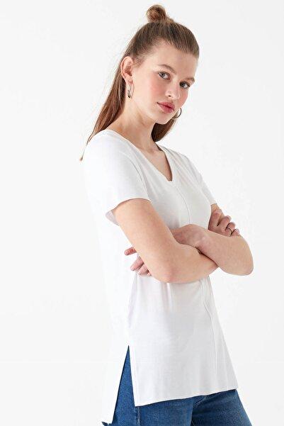 Kadın V Yaka Beyaz Basic T-Shirt 166775-620
