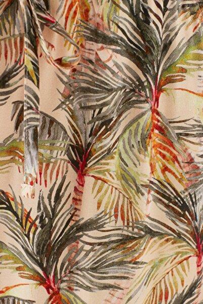 Kadın Palmiye Baskılı Düğme Detaylı Bej Tulum 100951-31434