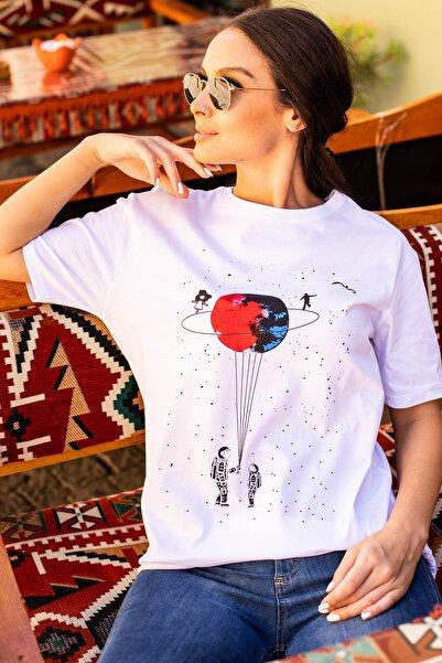 armonika Kadın Ekru Satürn Baskılı T-Shırt Arm-20Y012007