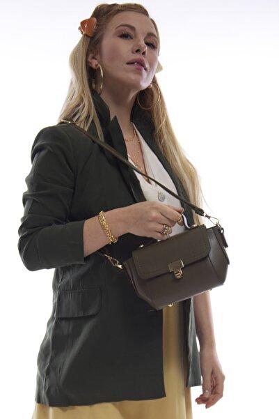 Kadın Haki Mini Fermuarlı Kapaklı Askılı Omuz Ve El Çantası