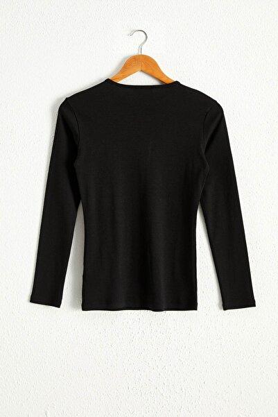 LC Waikiki Kadın Yeni Siyah Tişört 0WDN26Z8