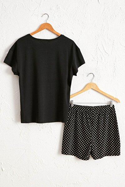 LC Waikiki Kadın Siyah Baskılı Pijama Takım 0SS304Z8