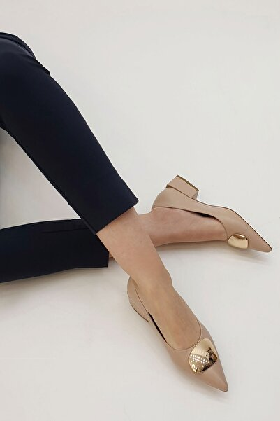 Marjin Kadın Bej Linva Günlük Klasik Topuklu Ayakkabı