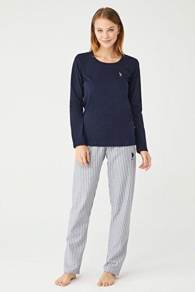 U.S POLO Kadın Lacivert Yuvarlak Yaka Pijama Takım