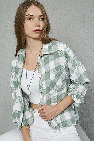 Sateen Kadın Ekru Cepli Ekose Oduncu Gömlek