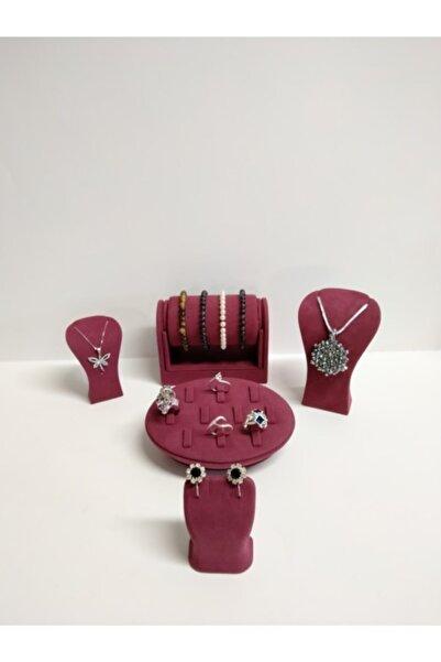 İsdeksan Takı Mücevher Seti Standı Bordo Nubuk Kumaş