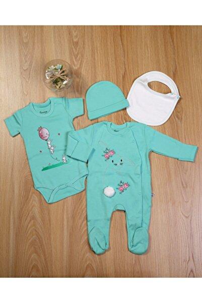 Blueberry Kız Bebek Yeşil Tavşan Desenli 4'lü Hastane Çıkışı Seti