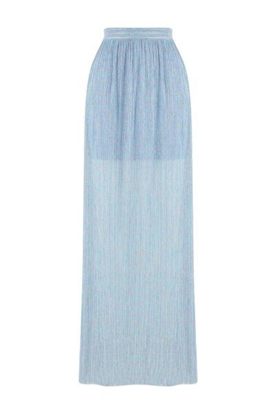 Meltem Özbek Kadın Mavi Simli Uzun Etek