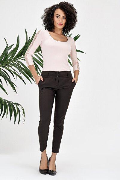 Jument Kadın Kahverengi Büyük Beden Yüksek Bel Pantolon