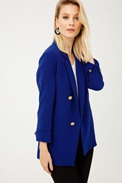 Kadın Lacivert Düğmeli Blazer Ceket