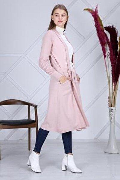 Kadın Pembe Kol Detaylı Triko Uzun Hırka