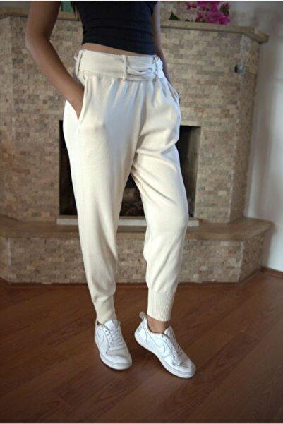 ÖZKAYALAR Kadın Ekru Kemerli Pantolon
