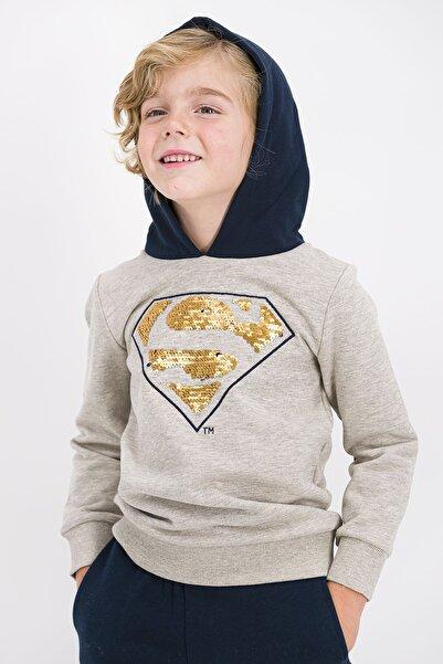 Superman Erkek Çocuk Bej Payetli Kapüşonlu Eşofman Takımı