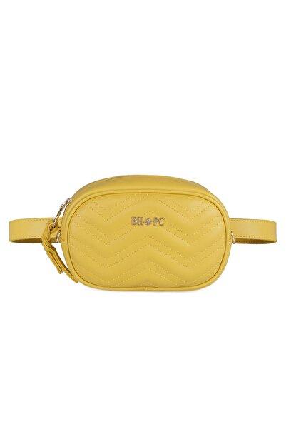 Beverly Hills Polo Club Kadın Zikzak Desenli Bel Çantası Sarı