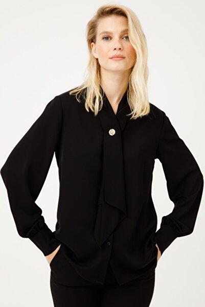 Ekol Kadın Siyah Kravat Yaka Bluz