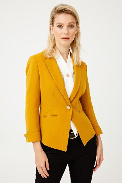 Ekol Kadın Hardal Düz Kesim Ceket