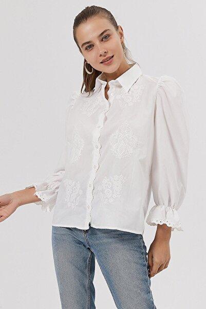 Y-London Kadın Beyaz Çiçek Nakışlı Dokuma Gömlek Y20W115-1908
