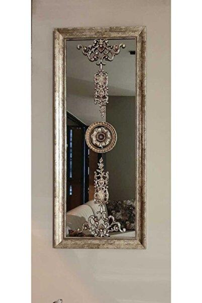 SETA BIANCA Stzd-205 Gümüş Işlemeli Dekoratif Ayna 48*110 Cm Duvar Obje