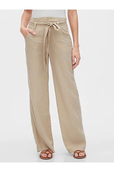 GAP Kadın Kemerli Keten Pantolon
