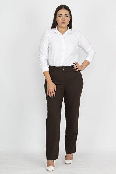 Şans Kadın Kahve Saten Kumaş Cep Detaylı Klasik Pantolon 65N19107