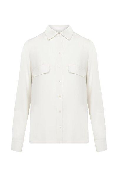 W Collection Kadın Ekru Cep Detaylı Gömlek