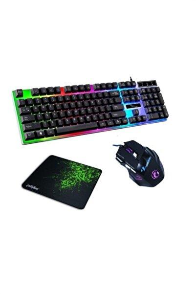 YK Design 3in1 Oyuncu Klavye Mouse Mause Pad Seti Kablolu Rgb Aydınlatmalı Set Gamer Pc Oyun Seti